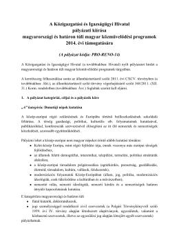 Pályázati kiírás - Közigazgatási és Igazságügyi Hivatal