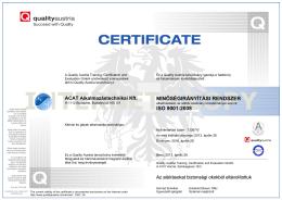 MINŐSÉGIRÁNYÍTÁSI RENDSZER ISO 9001:2008