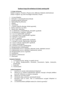 Középszintű kémia érettségi szóbeli tételek 2005