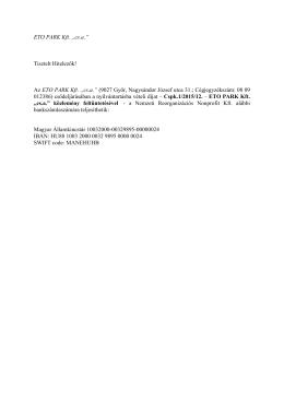 """Az ETO PARK Kft. """"cs.a."""" - Nemzeti Reorganizációs Nonprofit Kft."""