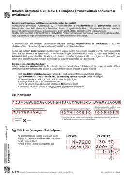 Kitöltési útmutató a 2014.évi L 1 űrlaphoz