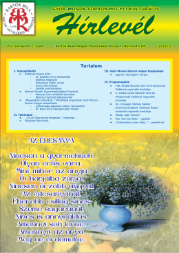 A 2011/1. sz. hírlevél letöltése PDF formátumban