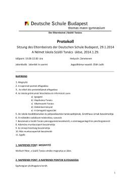 A 2014. január 29-i Szülői Tanács ülésének jegyzőkönyve