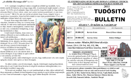 JÚLIUS 7 - ÉVKÖZI 14. VASÁRNAP Válaszos zsoltár: Minden föld