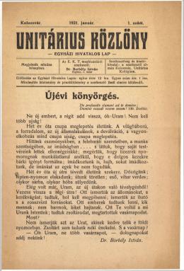 Unitárius Közlöny 1921