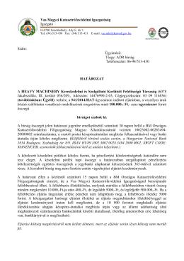 Határozat HEAVY MACHINERY Kereskedelmi és Szolgáltató Kft