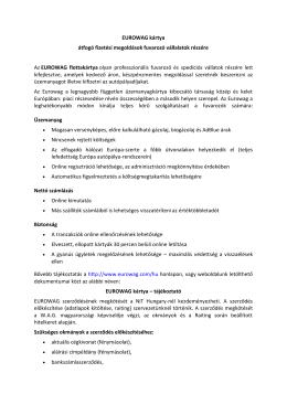 EUROWAG kártya átfogó fizetési megoldások