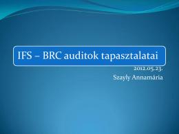 IFS – BRC auditok tapasztalatai - Pdf, 442 Kb