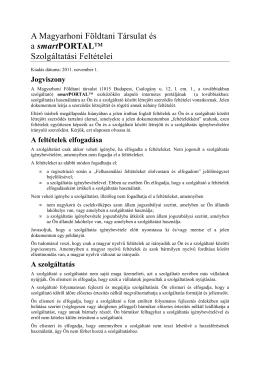 Szolgáltatási feltételek - Magyarhoni Földtani Társulat