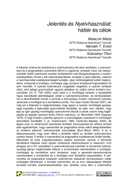 Letöltés (pdf) - Jelentés és Nyelvhasználat