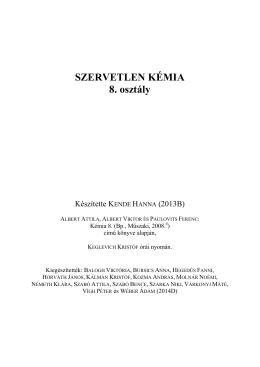 SZERVETLEN KÉMIA 8. osztály