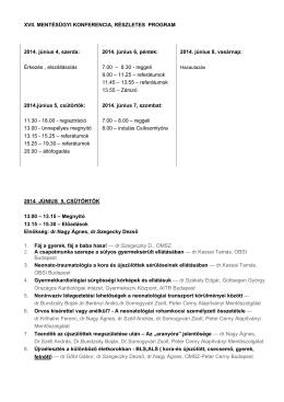 Részletes program 2014 - XIV. Mentésügyi Konferencia