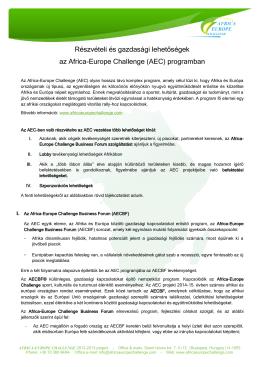 Részvételi és gazdasági lehetőségek az Africa-Europe