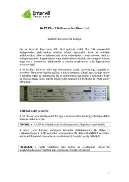 Electronics HLKS Plus 336 Beszerelési Útmutató