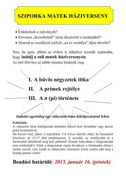 SZIPORKA MATEK HÁZIVERSENY I. A bűvös négyzetek titka II. A