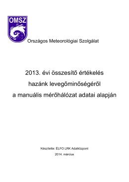 A települések levegőjének 2013. évi szennyezettsége a manuális