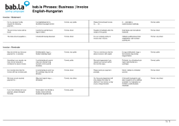 Phrases: Business | Invoice (English-Hungarian)