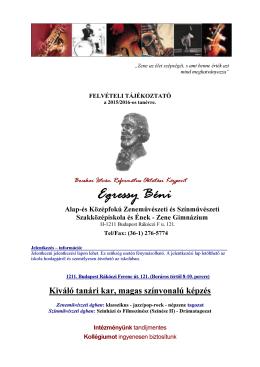 Beiskolázási tájékoztató - Egressy Béni Zeneművészeti