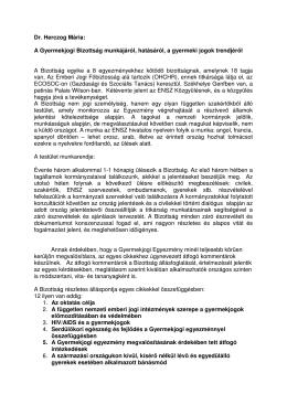Dr. Herczog Mária: A Gyermekjogi Bizottság munkájáról, hatásáról