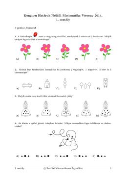 Kenguru Határok Nélkül Matematika Verseny 2014. 1. osztály