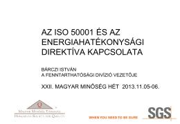 ISO 50001 és az Energia hatékonyság direktíva kapcsolata