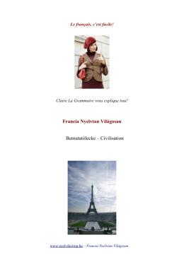 Francia Nyelvtan Világosan Bemutatólecke – Civilisation