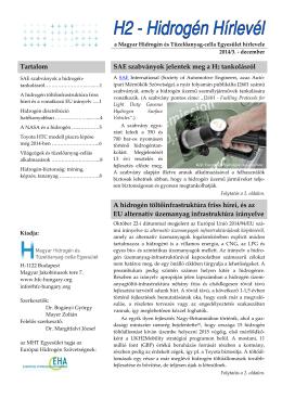2014. december - Magyar Hidrogén és Tüzelőanyag