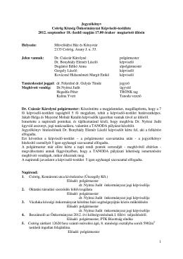 1 Jegyzőkönyv Csörög Község Önkormányzat Képviselő