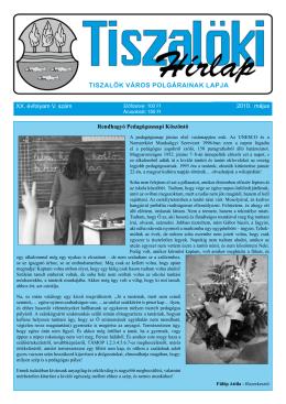 XX. évfolyam V. szám 2010. május Rendhagyó