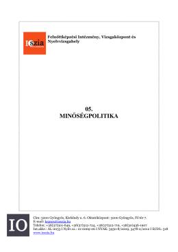 05. MINŐSÉGPOLITIKA