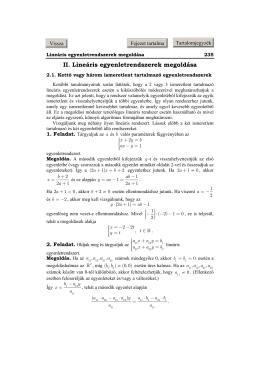 Kettő vagy három ismeretlent tartalmazó egyenletrendszerek