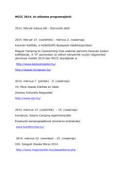 MCCC 2014. év előzetes programajánló 2014. február batyus bál