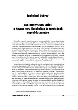 a Keynes-terv kialakulása és tanulságok napjaink számára