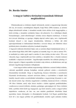 A magyar kultúra történelmi traumáinak lélektani megközelítései