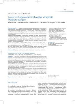 Kutatási eredmények a Magyarország átfogó egészségvédelmi