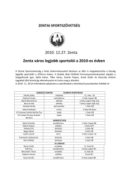 2010. 12.27. Zenta Zenta város legjobb sportolói a 2010
