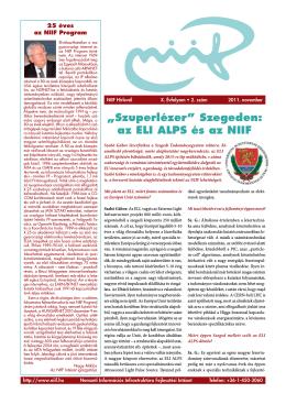 """""""Szuperlézer"""" Szegeden: az ELI ALPS és az NIIF"""