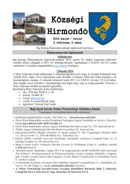 Községi Hírmondó 2014. máj.-jún.