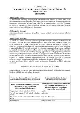 Tájékoztató a Varroa atka elleni védekezésben támogatott