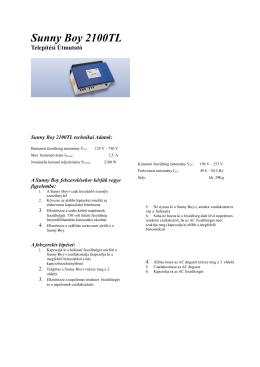 Sunny Boy 850 - Electro Home Bau Kft.