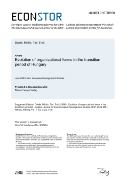 Evolution of Organizational Forms in the Transition