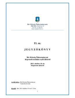 Jegyzőkönyv Bér Község Önkormányzat Képviselő