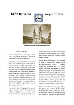KÉSZ Belváros 2013/2 hírlevél - Keresztény Értelmiségiek Szövetsége