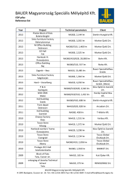 Reference list FDP - BAUER Magyarország Speciális Mélyépítő Kft.
