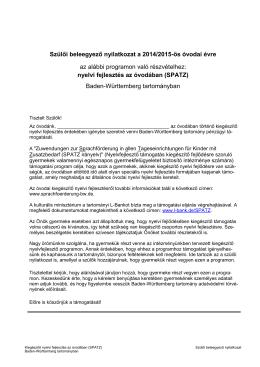 Szülői beleegyező nyilatkozat a 2014/2015-ös óvodai