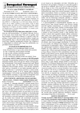 Beregszászi Harangszó - Beregszászi Római Katolikus Egyházközség