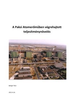 A Paksi Atomerőműben végrehajtott teljesítménynövelés