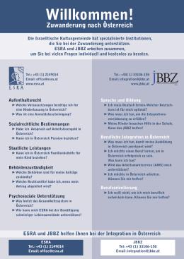 ESRA und JBBZ helfen Ihnen bei der Integration in Österreich