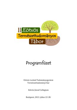 Programfüzet - Eötvös Loránd Tudományegyetem