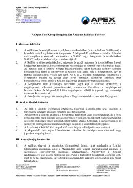 Az Apex Tool Group Hungária Kft Általános Szállítási Feltételei I